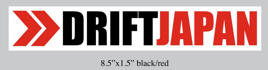 Stylish Drift Japan logo and arrow in black, white and red colors