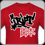 Red Drift Japan shirt featuring Japanese Kanji that reads Japan