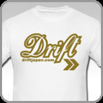 White Drift Japan t-shirt with stylish gold lettering