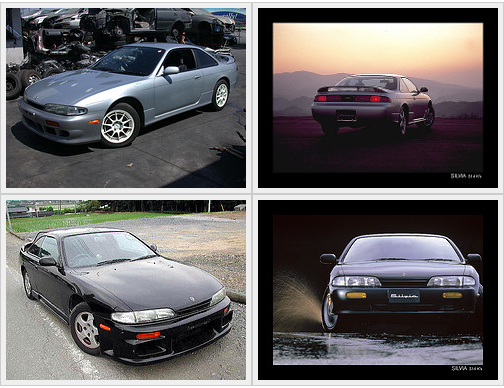 Four examples of Nissan's two door sports coupe model Silvia